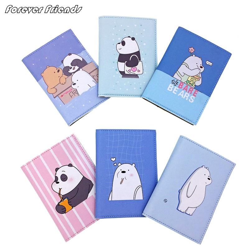 Cartoon We Bare Bears Passport Holder Men Leather Business Card Cover Women Credit Card Holder Travel Passport Cover