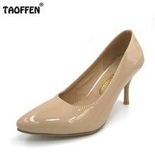 TAOFFEN größe 30-47 frauen high heel schuhe büro damen frauen flachen partei reizvolle pumpen schuhe heels schuhe P23518