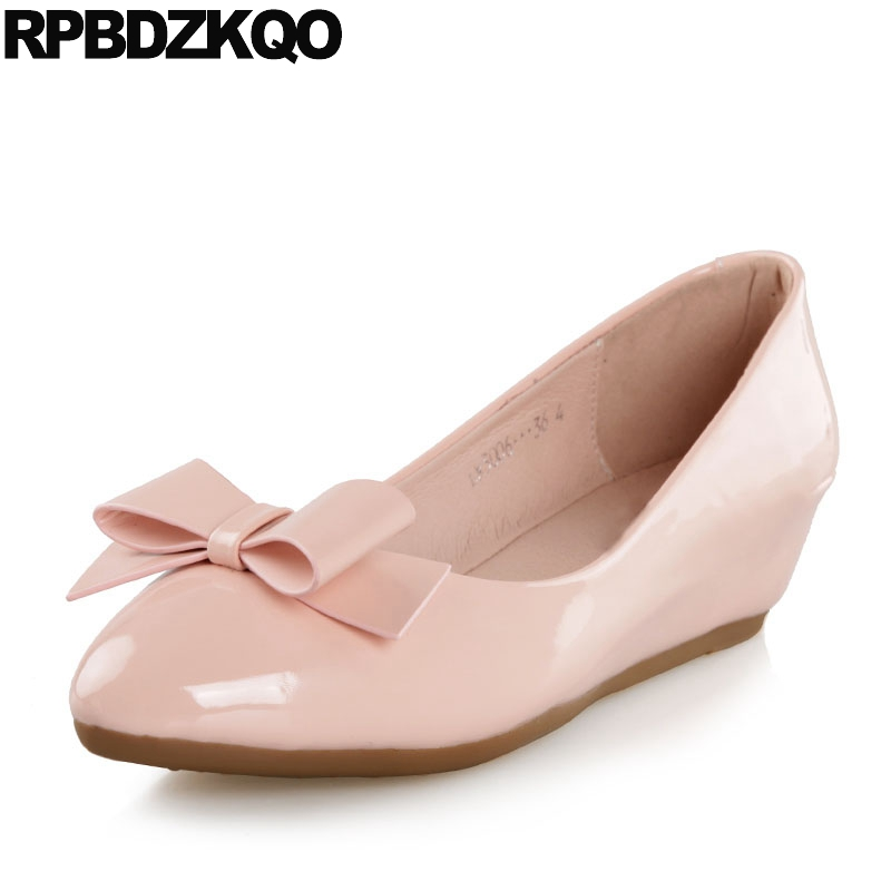 White Wedge Shoes Patent Leather Size 33 Pumps Medium Heels Pointed Toe Women 2018 4 34 Kawaii Low Bow Cute Peach Pink China New цена