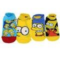 Envío libre 4 pairs 1 Unidades 2017 summer de la nueva alta calidad las mujeres calcetines cortos de dibujos animados Simpson Lindo Minions Calcetines calcetines del barco los hombres