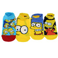 Free shipping 4 pairs 1 set  2017 summer new High quality Cartoon Simpson women short sock Cute Minions Socks men boat socks