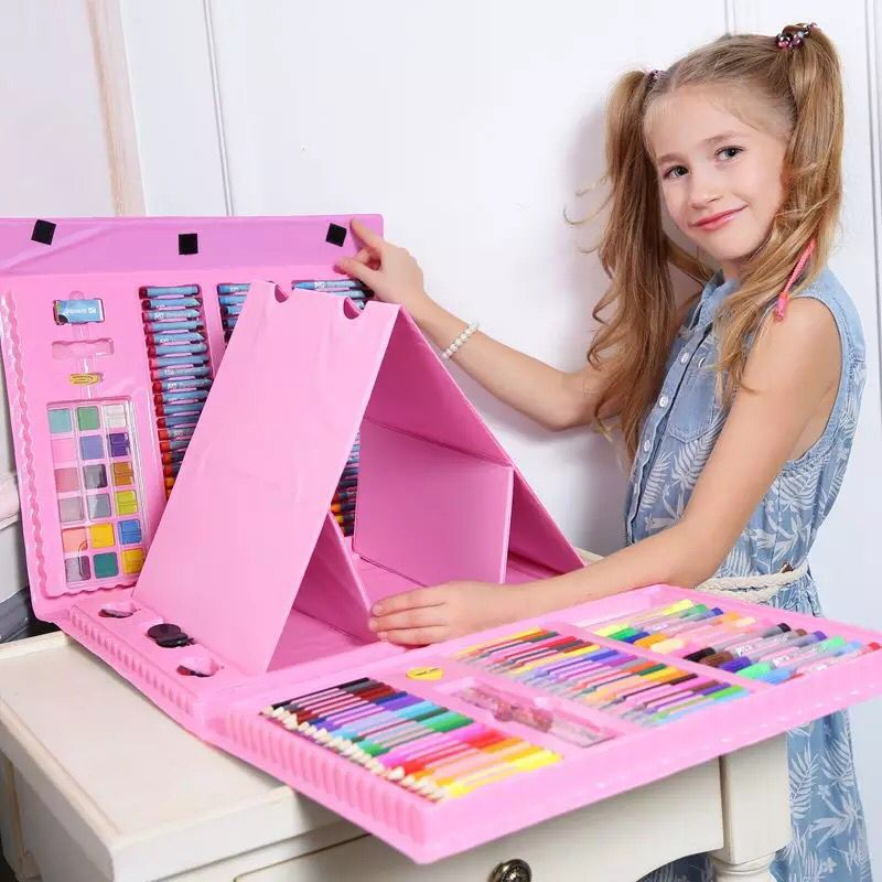 deli child puzzle stationery gift set toy paint brush crayon watercolor pen primary school students gift supplies New hot sale 176 pieces/set Children's gift painting set watercolor pen brush stationery children's school supplies flower stand