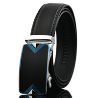 LannyQveen New Model Men S Automatic Alloy Buckle Belt Cow Leather Fashion Blue Belts For Man