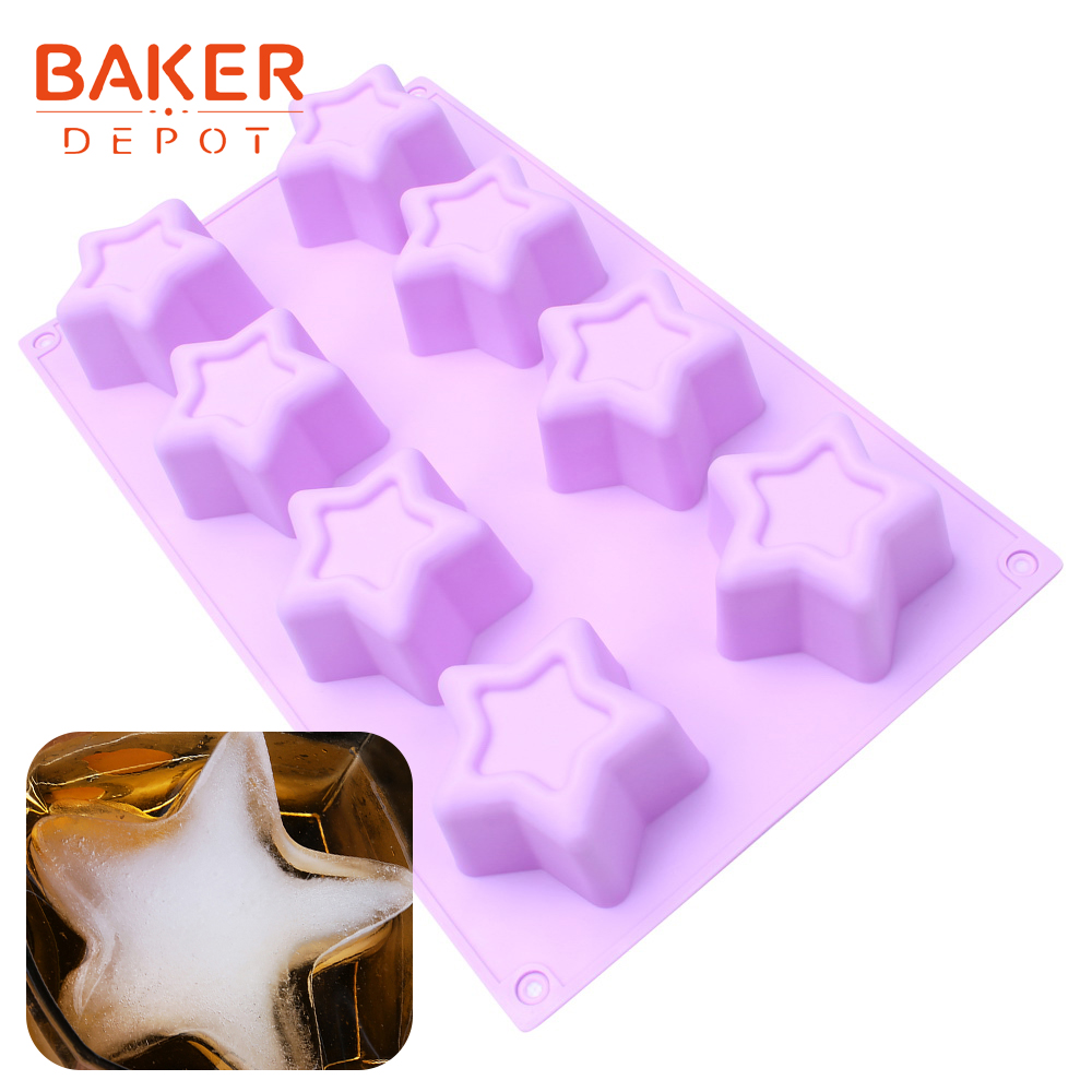 <font><b>BAKER</b></font> <font><b>DEPOT</b></font> Star Silicone Ice Pudding Jello mold soap cake baking mold bread biscuit molds pastry dessert baking tools 8 holes image