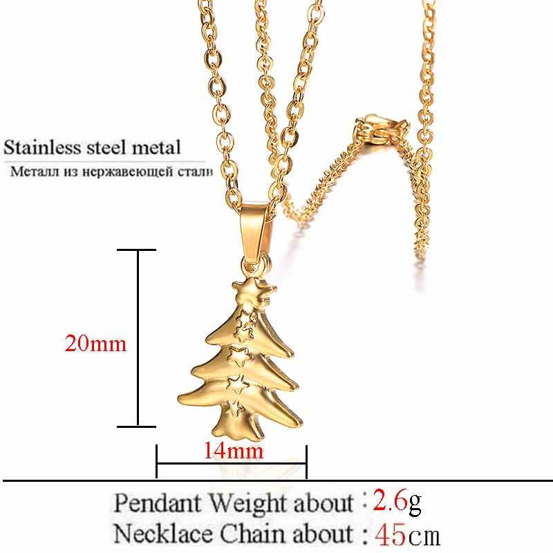 ZFVB Fashion Christmas tree Necklace foe Women Stainless Steel Gold Silver color Fish bone Necklaces Pendants Christmas Gifts