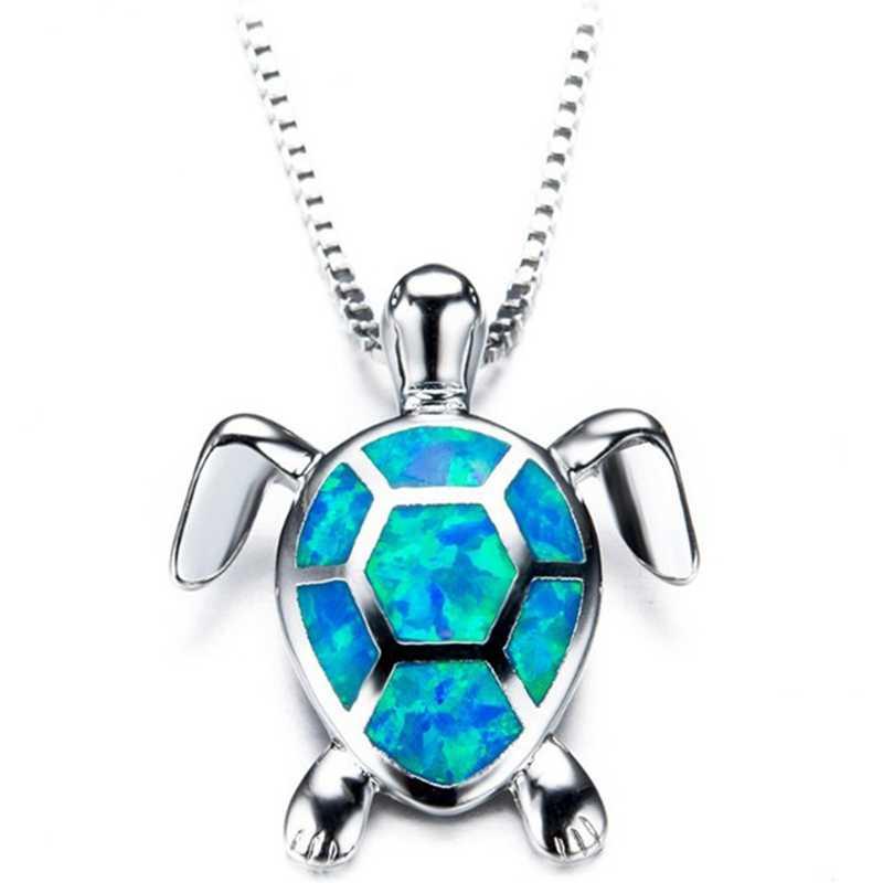Thời trang Bạc Đầy Màu Xanh Opal Rùa Biển Mặt Dây Chuyền Vòng Cổ Phụ Nữ Nữ Đám Cưới Động Vật Đại Dương Bãi Biển Đồ Trang Sức Quà Tặng