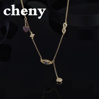 50f1150ffa73 Cheny Fit Apm Hyperbole Design Necklace S925 Sterling Silver Eyes Shape  Gold Chain Bohemian Indian Style