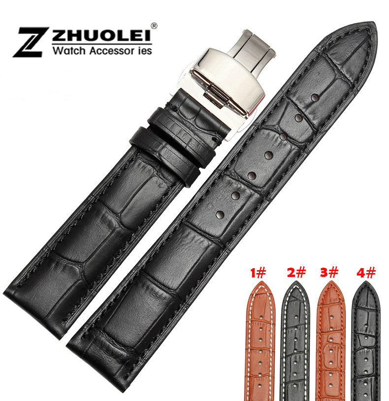 18mm 20mm 21mm 22mm New Mens Womens Black Brown Genuine Leather Watch Band Strap Bracelets Deployment Buckle Clasp new fashion replace watch band 22mm 24mm mens womens dark blue 100% genuine crocodile grain leather watch strap band bracelets