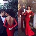 De Manga larga Sheer Volver Sirena Vestidos de Noche Rojos de Fotos Ilusión Cuello de Encaje Vestidos de Partido Por Encargo