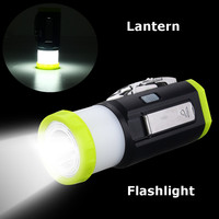 Multifunction Rechargeable Hand Cranking LED Flashlight Camping Tent Light Torch Lantern Lamp Emergency Lighting DC5V