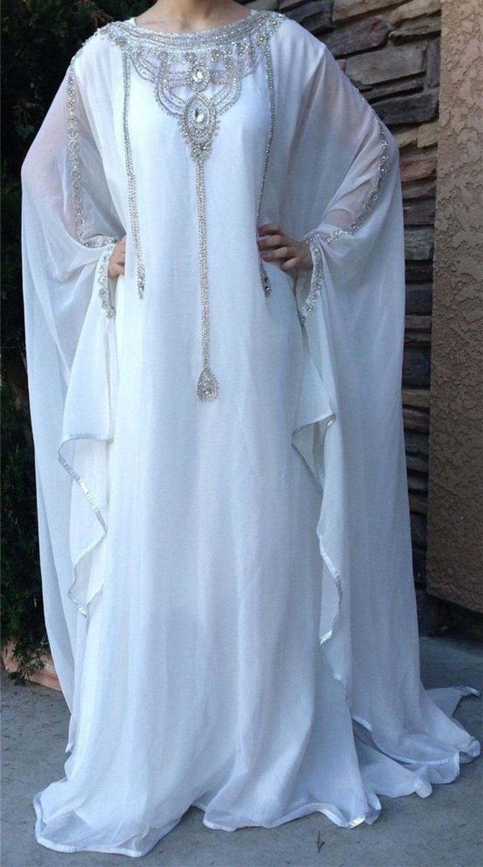 2017 Dubai Muslin Kaftan Long Chiffon Evening Dress Crystal Sequin Beaded Robe Soiree Formal Party Gown Longo Vestido de Festa