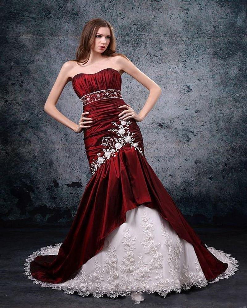White And Burgundy Strapless Mermaid Wedding Dress Lace Waist Beading Embroidery Court Trainin
