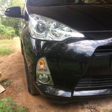 SUS304 передняя противотуманная фара из нержавеющей стали, светодиодная накладка, аксессуары для автомобиля, Стайлинг для Toyota Prius C Aqua 2011-14