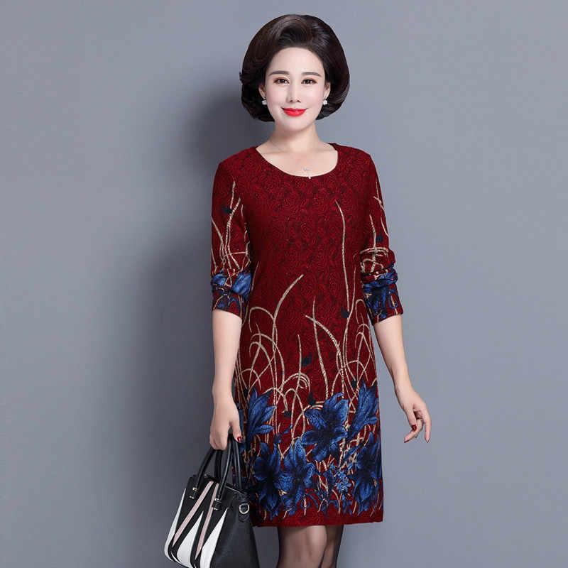 a3ec3e432a8 ... Элегантный среднего возраста и старых Осенняя женская обувь платье с  длинным рукавом 40-50 лет ...