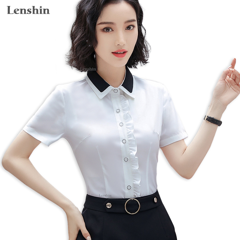 c0466163 Mouse over to zoom in. Lenshin Contrast Collar New Fashion Female Short  Sleeve Shirt Elegant Women Blouse Office Lady Work Wear ...