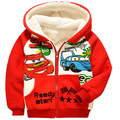Girls Boys winter coats Print car red blue Thickened Cotton Jackets for girls with hooded Down & Parkas coat To Kids 2-8 Yrs