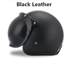 Free shipping Black Adult Open Face Half Leather Helmet Harley Moto Motorcycle vintage Motorbike Vespa