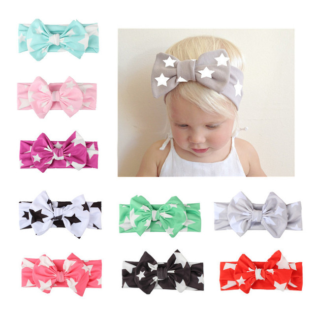 Star prints children with hair bands Bow tie band Baby hair band Baby head  wrap star jersey headband baby turban 613293104f7