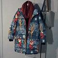 Winter Print Jacket Women Down Coats Korean Version Long Sleeves Hooded New Fashion Clothing Casual Coat