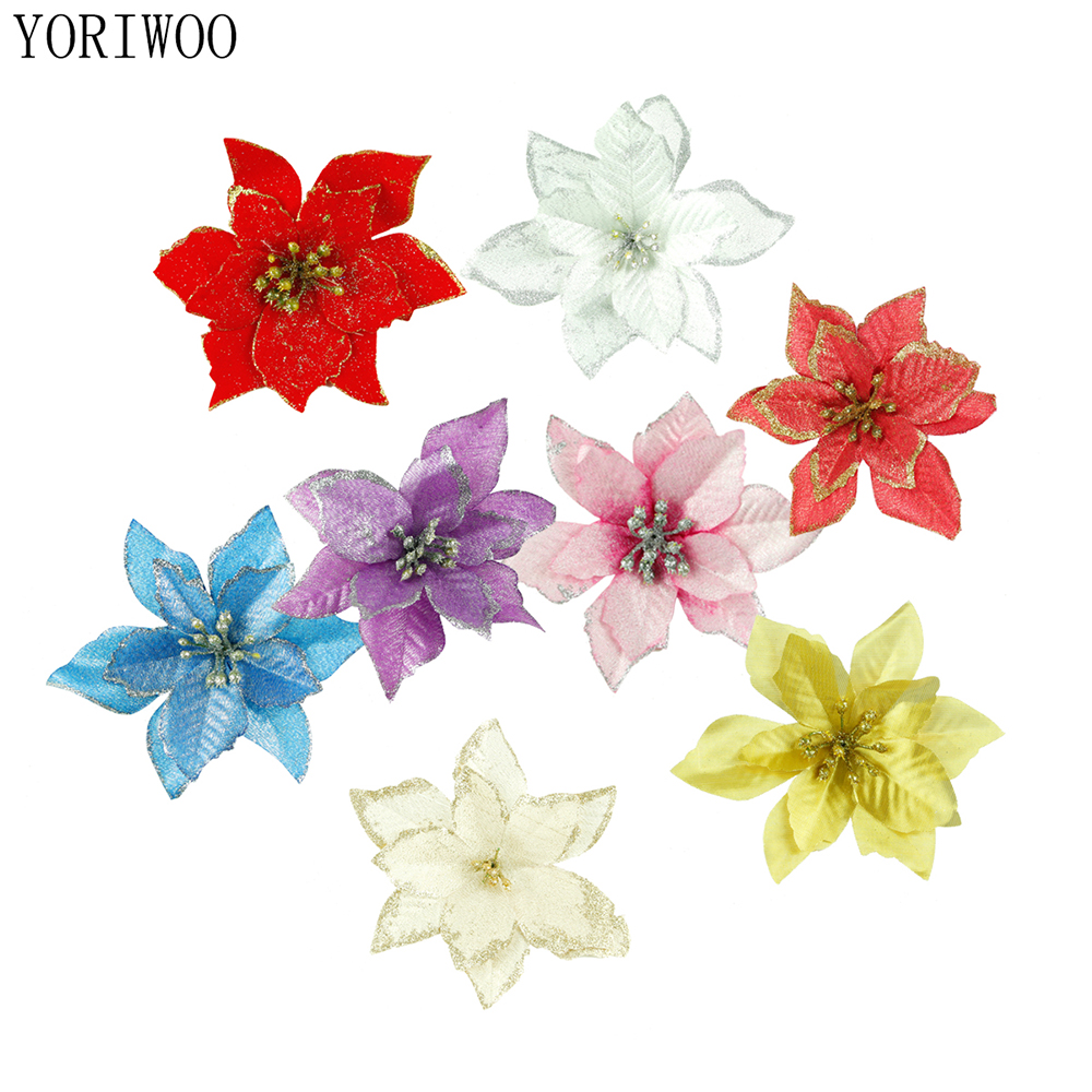 Artificial Christmas Flowers.Us 3 11 Yoriwoo 10pcs Artificial Christmas Flowers Glitter Poinsettia Fake Flowers Home Decor Merry Christmas Tree Ornaments Xmas Tree In Pendant