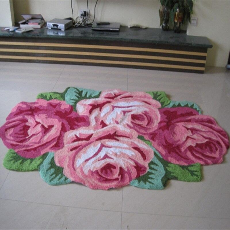 Livraison gratuite fait à la main 4 rose art tapis pour chambre/chevet art tapis romantique rose
