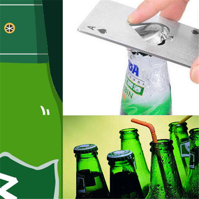 Stainless Steel Bottle Opener,Bar Cooking  A Poker Playing Card of Spades Tools,Mini Wallet Credit Card Openers For Beer