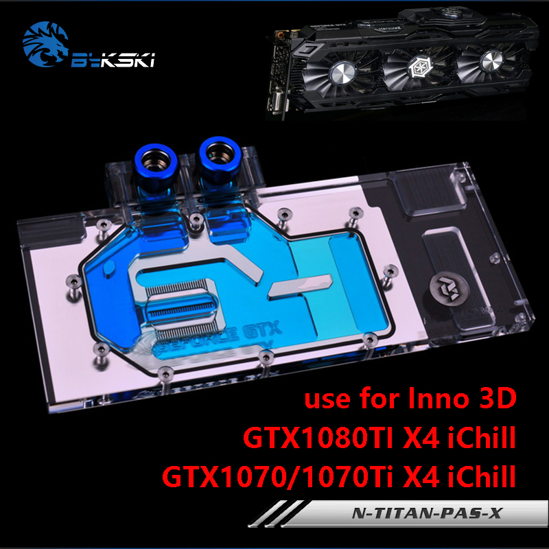 BYKSKI GPU Card Water Block use for Inno 3D GTX1070/1070Ti/1080TI X4 iChill IceDragon Super Edition/Founder Edition Full Cover багажники inno