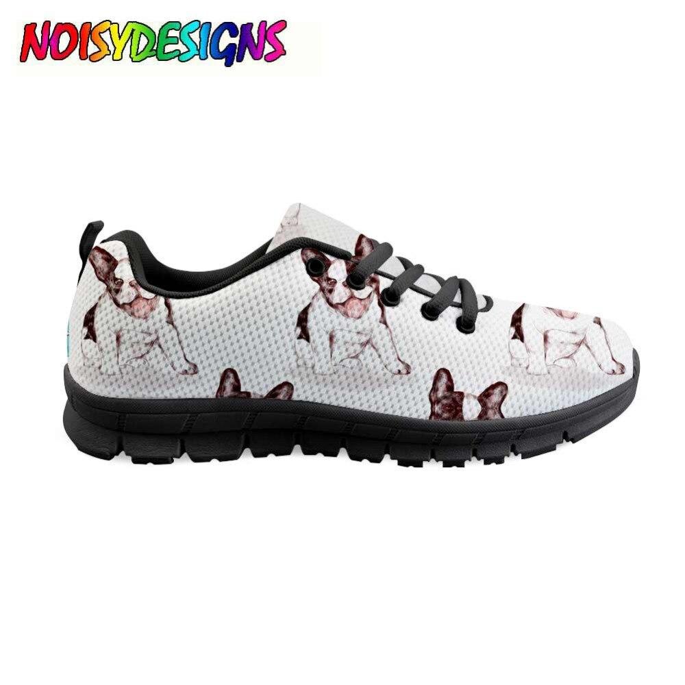女性犬パターンの靴干潟の夏のファッションカジュアルスニーカー靴女性フレンチブルドッグの女性の快適な Zapatos Mujer 女の子  グループ上の 靴 からの レディースフラット の中 1