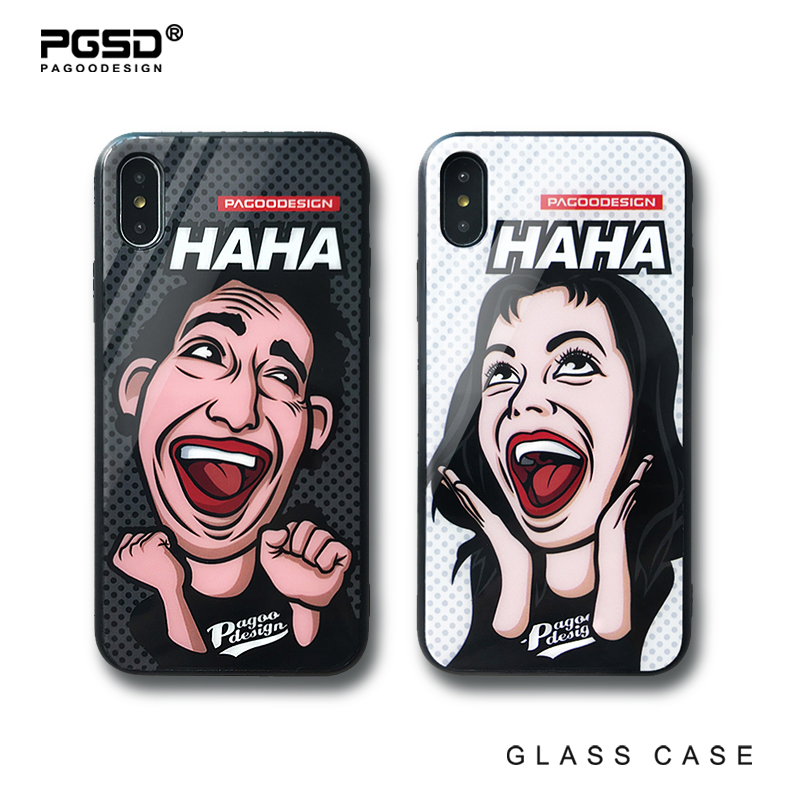 PGSD Fashion Original Cute Cartoon lovers Mobile phone shell for iphoneXS apple 7/8 Plus Toughened Glass case protect back cover