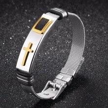 Fashion Jewelry Adjustable Men's Bracelet Titanium Steel Mans Bracelets Gift Vintage Cross Bangles For Mens