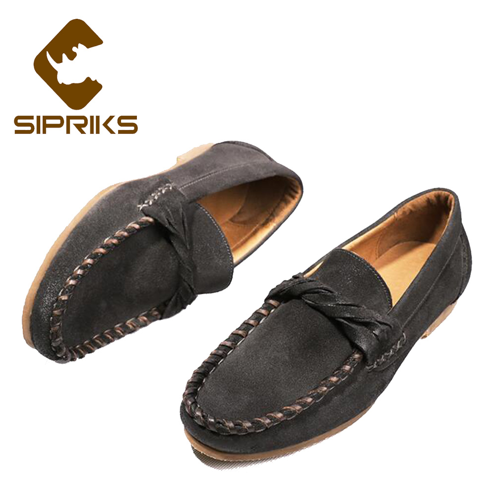 цена Sipriks Mens Genuine Leather Loafers Fashion Men Driving Flats Breathable Casual Cow Suede Loafers Male Leisure Shoes Smoking
