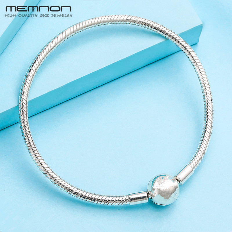 Memnon Trendy MOMENTS snake Chain bracelets fit 925 sterling silver beads charms DIY for Women silver bangle Special Offer YL029 2018 summer new moments black leather hand chain bracelets fit 925 sterling silver jewelry charms beads diy for women br066