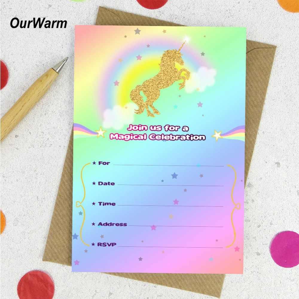 Tarjeta De Invitación De Unicornio De Feliz Cumpleaños De 10