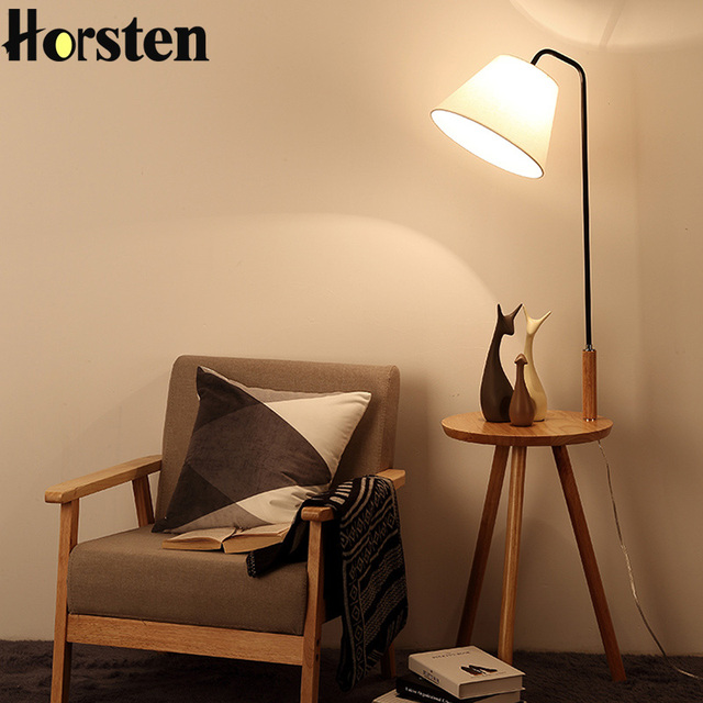 Creative modern nordic oak wooden floor lamps for living room linen lampshades e27 floor standing lights