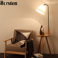 Creative Modern Nordic OAK Wooden Floor Lamps For Living Room Linen Lampshades E27 Floor Standing Lights Bedside Lamp AC110 220V