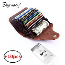 Slymaoyi Genuine Leather Unisex Card Holder Wallets High Quality Female Credit Card Holders Women Pillow Organizer