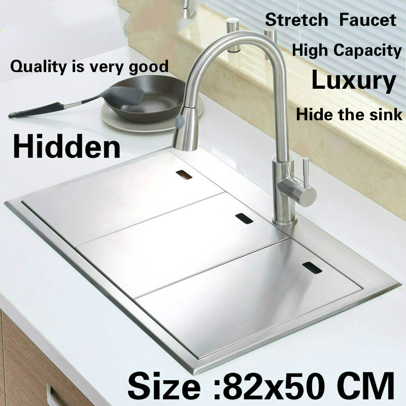 Free shipping Standard luxurious kitchen manual sink double groove hidden durable food-grade stainless steel hot sell 820x500 MM free shipping standard mini kitchen manual sink single trough black durable food grade stainless steel hot sell 550x450 mm