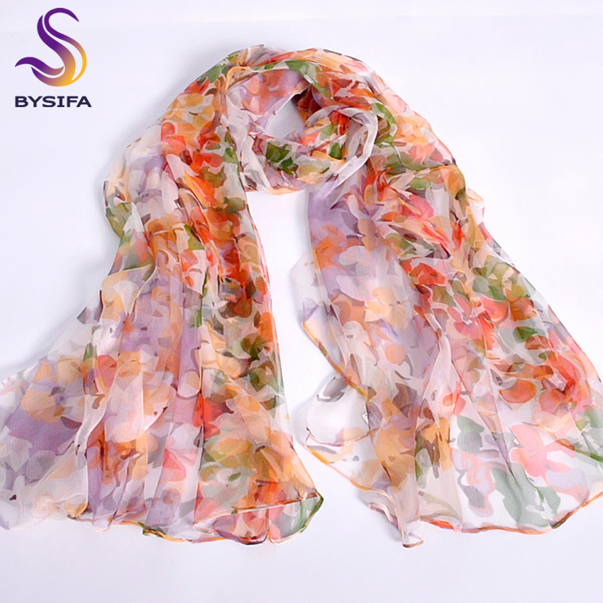 Pink Orange Silk Scarf 2016 Ny Design Long Female Scarves Printed 170 * 105cm Vår Høst Mote Tilbehør Women Silk Scarf