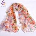 Rosa Laranja de Seda Lenço 2016 Novo Design de Longa Feminina Impressa Lenços 170*105 cm Acessórios de Moda Primavera Outono Mulheres Lenço de seda