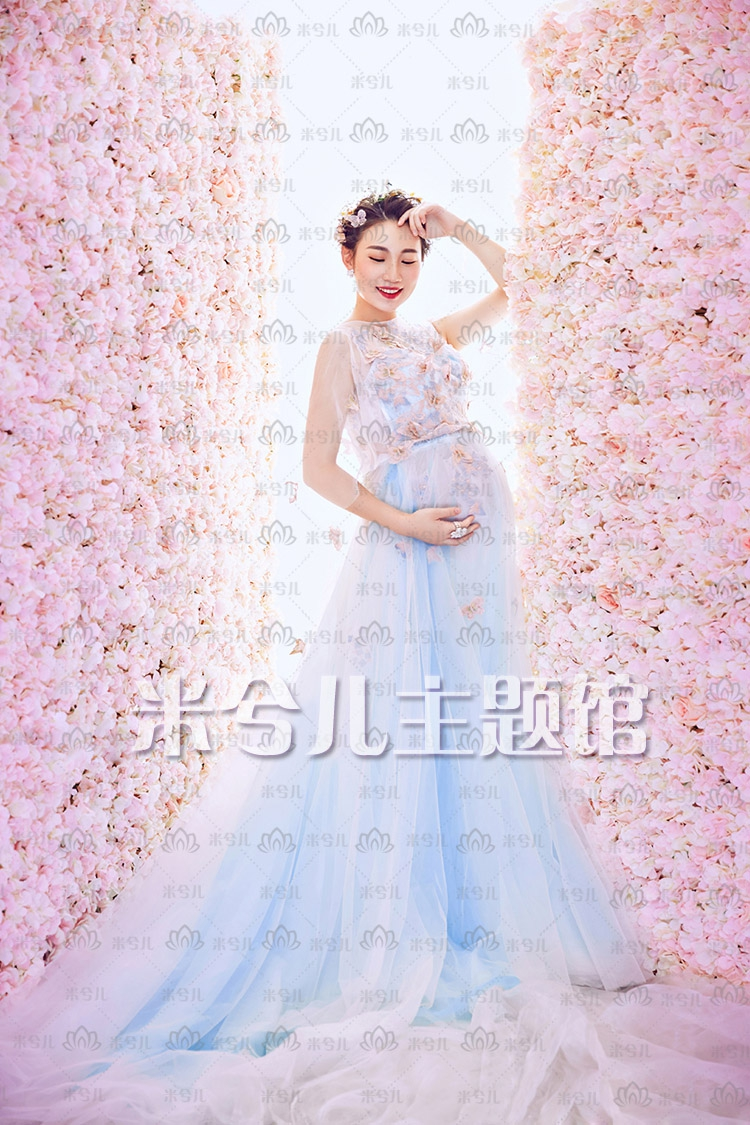 NEW Pregnant Maternity Women Photography Fashion Props Blue Flower Sleeveless Dress Romatic Fancy Baby Shower Free shipping maternity pregnant women photography fashion props long dress white romatic see through personal portrait nightdress size s l