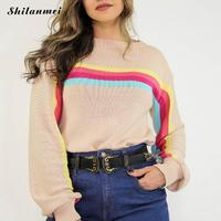 Rainbow Women Striped Knitted Sweater O Neck Fashion Warm Knitwear Outwear Autumn Winter Loose Female 2019 Knitted Pullovers