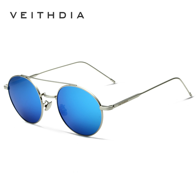 VEITHDIA 2017 Brand New Fashion Unisex Sun Glasses Polarized Coating Mirror Driving Sunglasses Round Male Eyewear For Men/Women