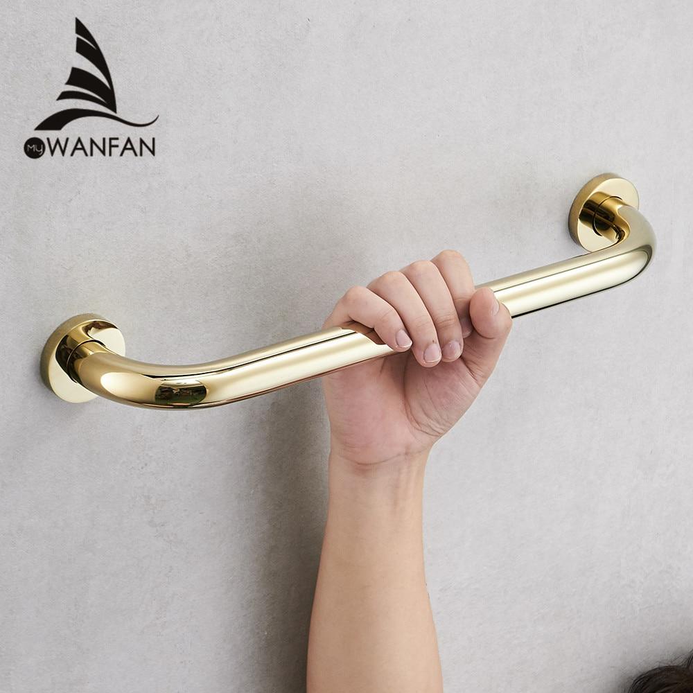 Grab Rail Gold Brass Wall Mounted Bathroom Armrest Handle Bathtub Grab Bar Toilet Elderly Handrail Home Safety WF-811530