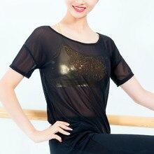 c1b10f8814661 Ballet adulto Dança De Salão Tops Harajuku Das Mulheres Sexy Malha Ver  Através Camiseta Oco Transparente Undershirt Base Preta