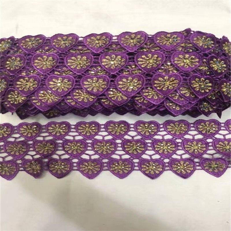 10 mètres de dentelle de coton or violet garnitures bricolage hometexil vêtements bord emballage coton ruban ruban coton matériel avec des pierres B93-25