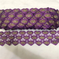 10yards Purple Gold Cotton Lace Trims DIY Hometexile Clothes Edge Wrapping Cotton Ribbon Tape Cotton Material With Stones B93 25