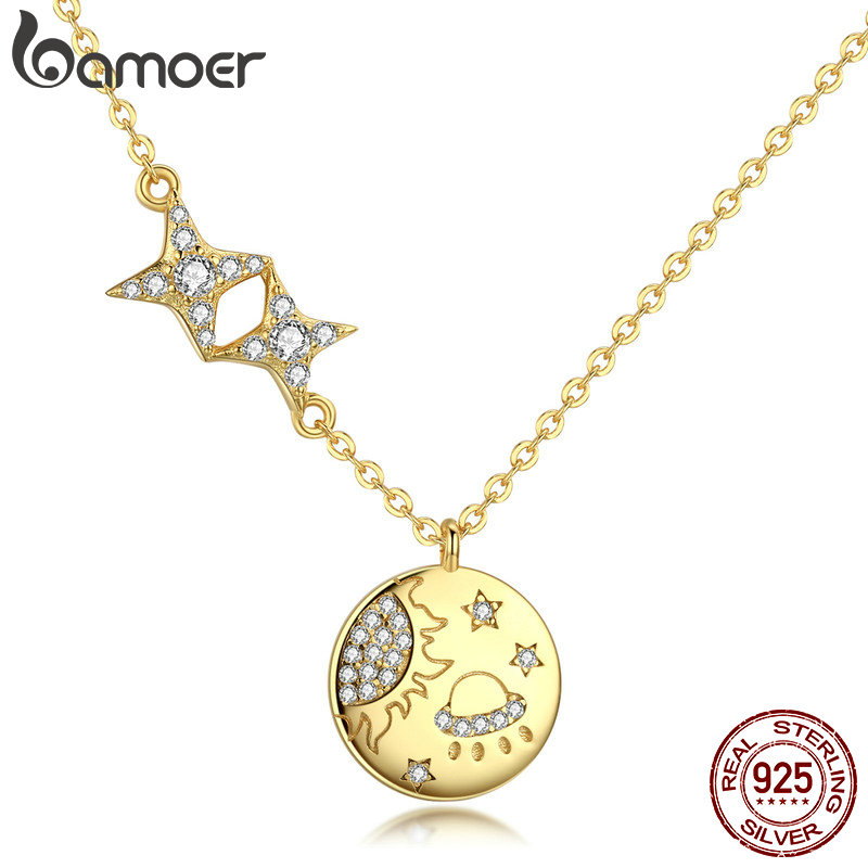 BAMOER 100% 925 Sterling Silver Secret Galaxy Gold Color Pendant Necklaces for Women Fashion Necklace Jewelry Making SCN281 браслет с брелоками bamoer 50