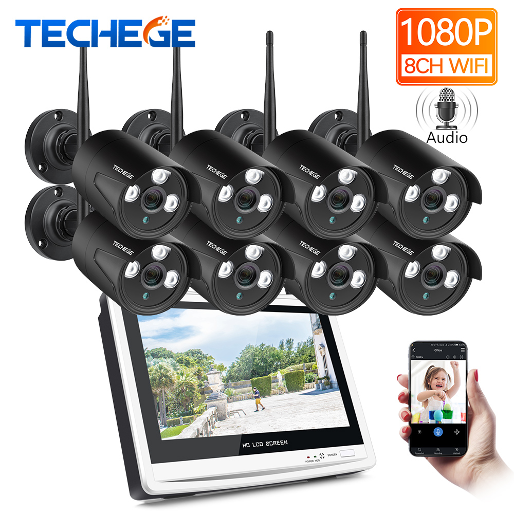 Techege 8CH 1080P Wireless NVR CCTV System 12 LCD Screen 2 0MP Audio Record Outdoor IP