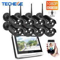 """Techege 8CH 1080 P Wireless NVR CCTV System 12 """"LCD Bildschirm 2.0MP Audio Record Outdoor IP Kamera Sicherheit Überwachung system"""