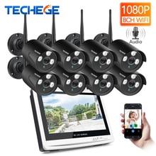 Techege 8CH 1080 P Беспроводной NVR CCTV системы 12 «ЖК дисплей экран 2.0MP аудио запись открытый IP камера безопасности системы скрытого видеонаблюдения